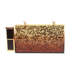 Tom Ford Gold Glittered Plexi-glass Clutch