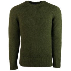Tom Ford Green Cashmere Loose Rib Knit Crewneck Raglan Sweater