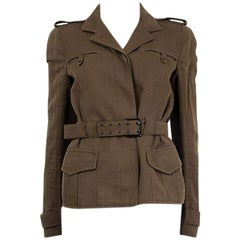 TOM FORD green cotton linen BELTED FITTED MILITARY Jacket 42 M