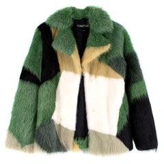 Tom Ford Green Intarsia Coypu Fur Coat 36