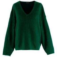 Tom Ford Green Mohair blend V Neck Oversized Knit Sweater - Size M