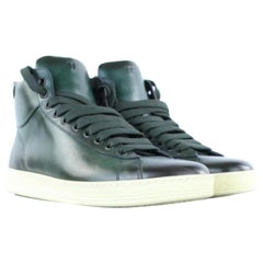 Tom Ford Green Russel Leather High Top Sneaker 2mj1020 Sneakers Boots/Booties