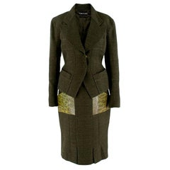 Tom Ford Green Tweed Skirt Suit with Snake Embossed Pockets - Size US 4