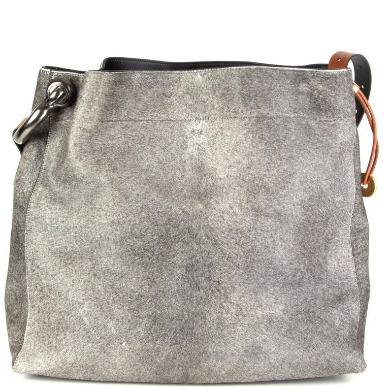 Gray TOM FORD grey calf hair FISHERMAN HOOK HOBO Shoulder Bag For Sale