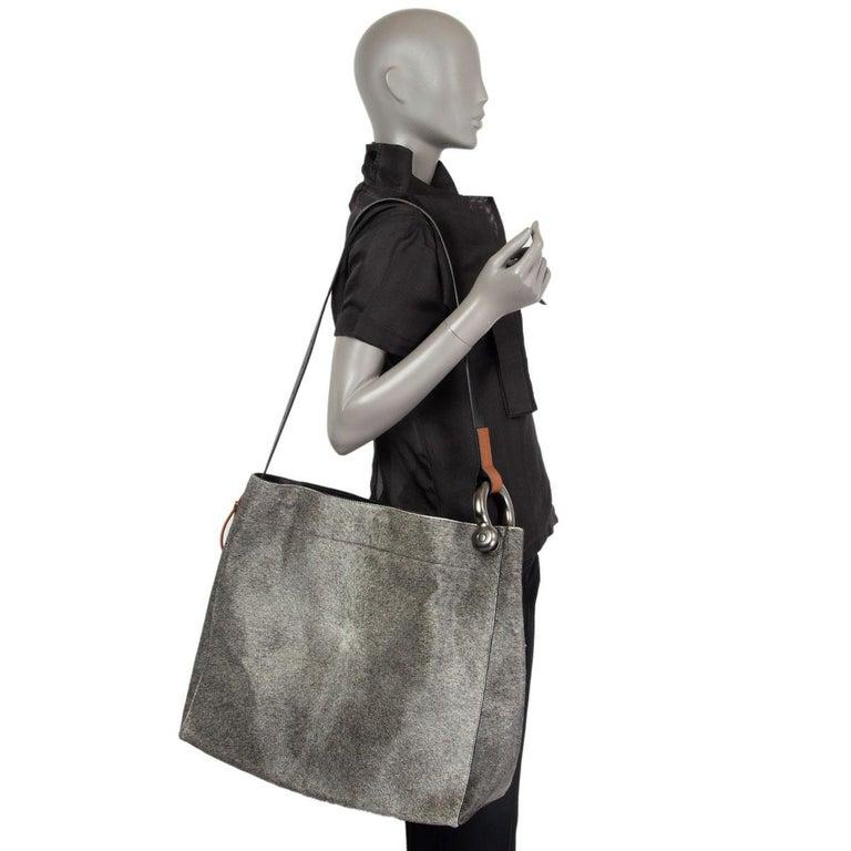 TOM FORD grey calf hair FISHERMAN HOOK HOBO Shoulder Bag For Sale 3