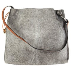 TOM FORD grey calf hair FISHERMAN HOOK HOBO Shoulder Bag