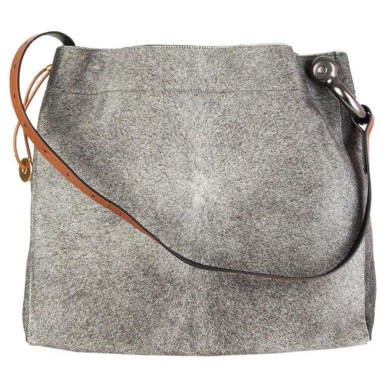 TOM FORD grey calf hair FISHERMAN HOOK HOBO Shoulder Bag For Sale