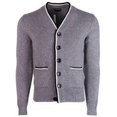 Tom Ford Grey Cashmere Striped Edge Button Down Cardigan