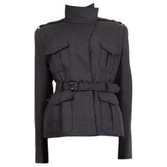 TOM FORD grey wool & cashmere BELTED MILITARY Jacket 44 L