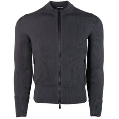 Tom Ford Grey Wool Tight Ribbed Knit Zippered Mock Neck Sweater