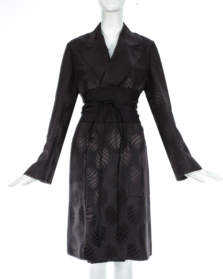 Loose fit evening robe in black silk brocade with matching Obi belt with braided leather string fastening  Autumn-Winter 2001
