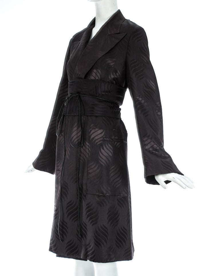 Women's Tom Ford Gucci black silk evening robe with matching Obi belt, A/W 2001 For Sale