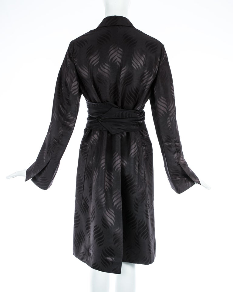 Tom Ford Gucci black silk evening robe with matching Obi belt, A/W 2001 For Sale 2