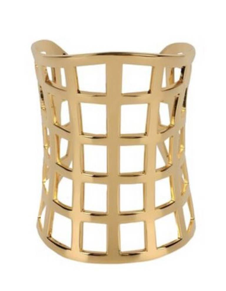 Tom Ford Hi Fashion Gold Metal Cage Cuff Bracelet In New Condition For Sale In Los Angeles, CA