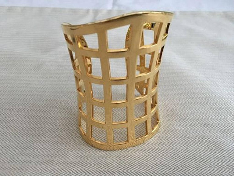 Women's Tom Ford Hi Fashion Gold Metal Cage Cuff Bracelet For Sale