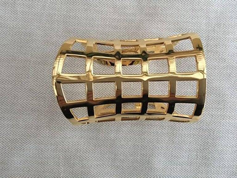 Tom Ford Hi Fashion Gold Metal Cage Cuff Bracelet For Sale 1