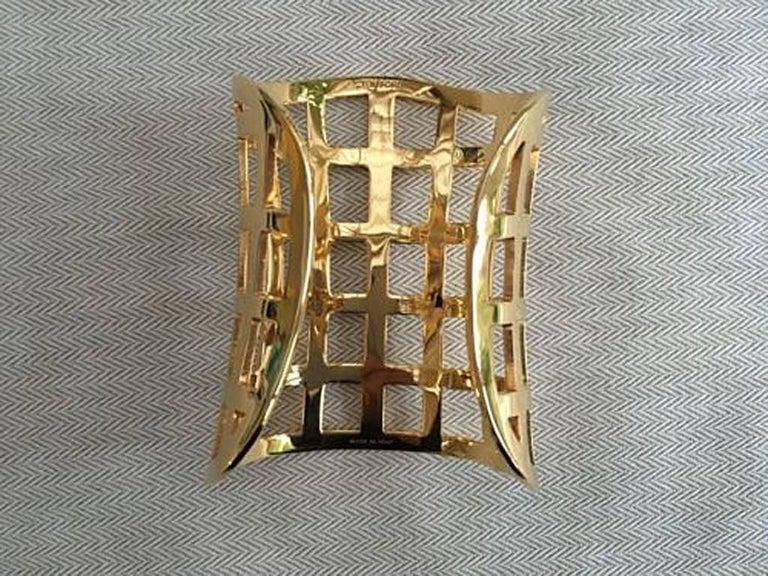 Tom Ford Hi Fashion Gold Metal Cage Cuff Bracelet For Sale 2