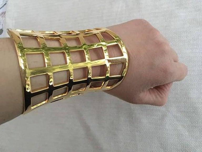 Tom Ford Hi Fashion Gold Metal Cage Cuff Bracelet For Sale 4