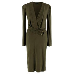 Tom Ford Khaki Plunge Neck D-Ring Wrap Style Dress - Size US 4