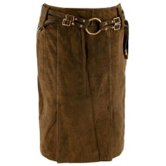 Tom Ford Khaki Suede Leather Belted Skirt FR40