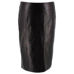 Tom Ford Lambskin Black Pencil Skirt 38
