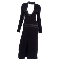 Tom Ford Leather Collar Bodycon Black Low Cut Statement Runway Dress