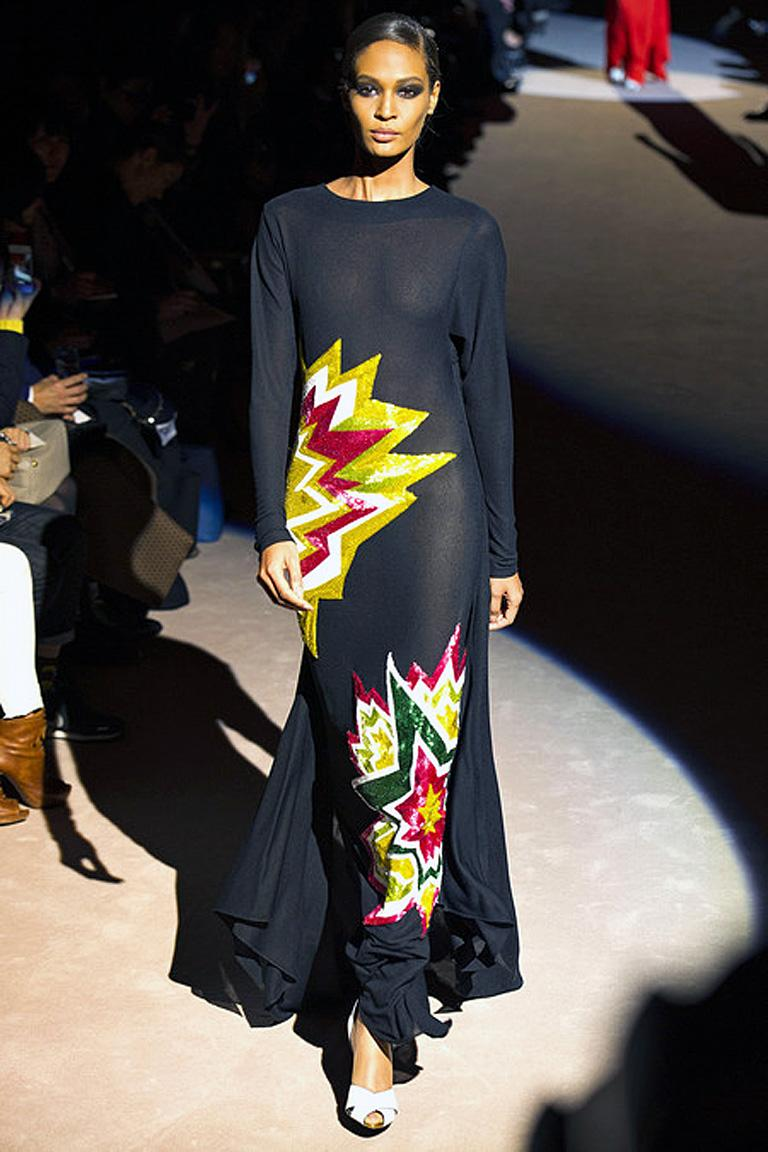 Tom Ford runway beaded multi-color double sunburst gown. KA-POW! Lots of color, lots of glamour makes this really pop! Fashioned of black crepe with a hint of stretch in a bias cut dolman sleeve design. Easily drapes the body without  zipper entry.