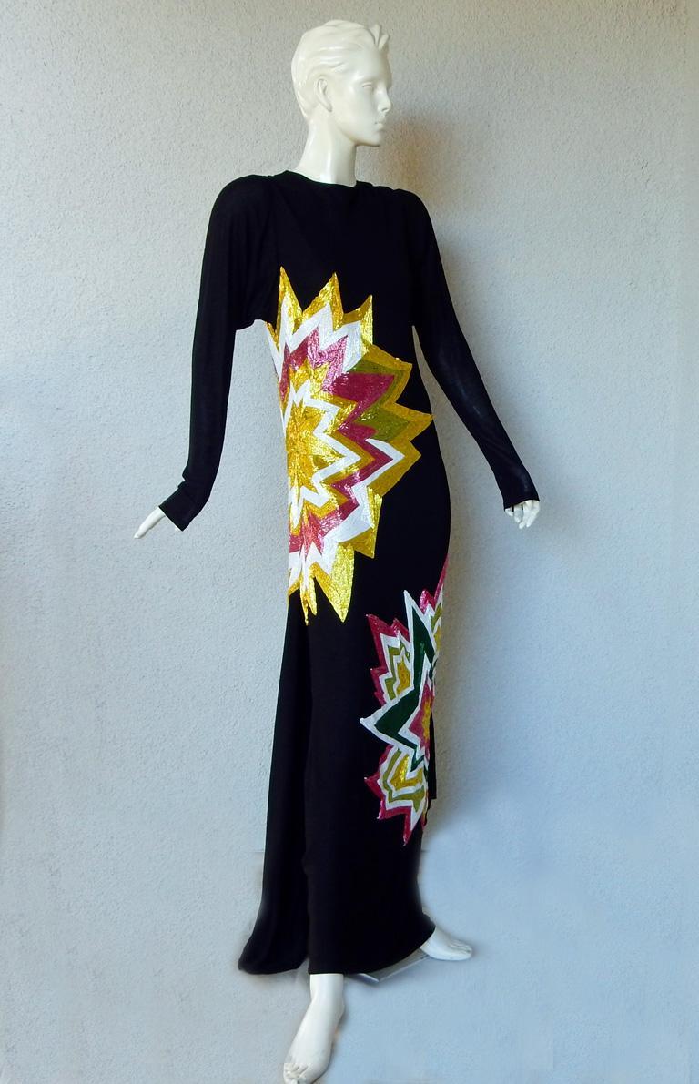 Black Tom Ford Lichtenstein-esque Ka-Pow Explosive Appliques Dress Gown  New! For Sale