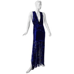 Tom Ford Limited  Deco Inspired Deep Blue Beaded Evening Dress