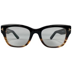 TOM FORD Marbled Black & Brown Acetate Thick Retro Frames