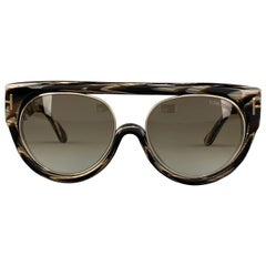 TOM FORD Marbled Brown & Black Horn ALANA Aviator Sunglasses