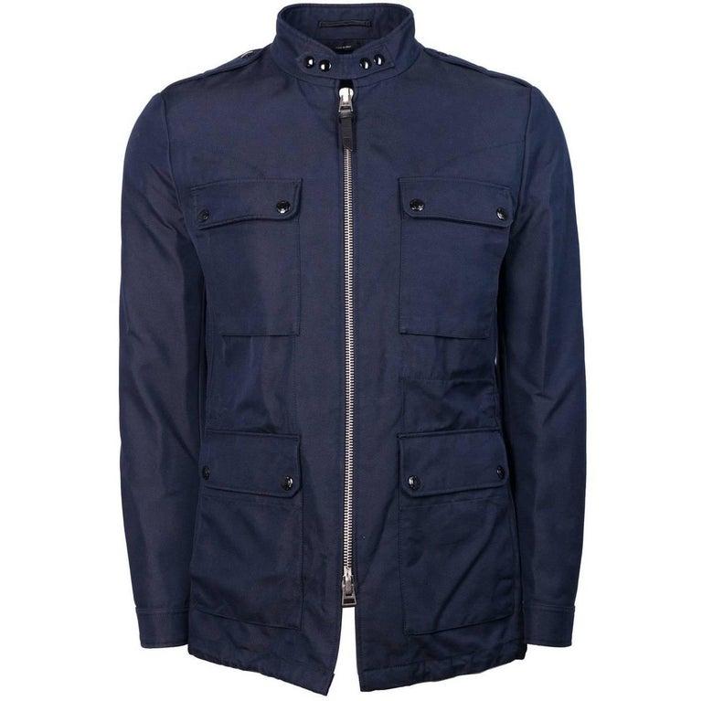 Tom Ford Men Blue Cotton Blend Twill Utilitarian Sport Jacket