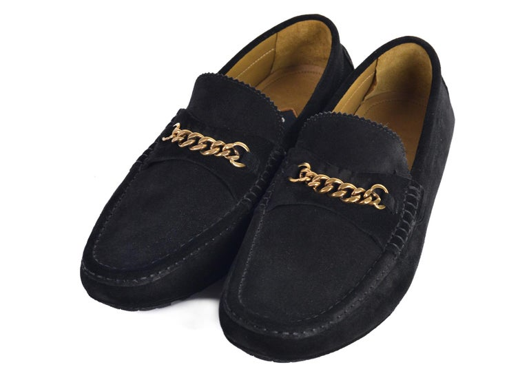 129a4b91200 Tom Ford Mens Black Suede York Chain Drivers Loafers For Sale at 1stdibs