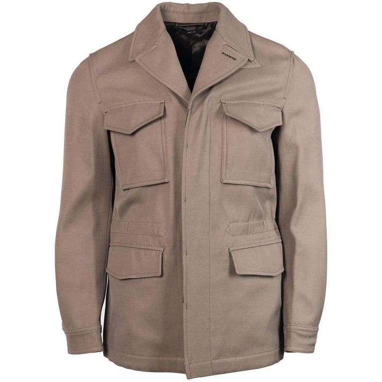 Tom Ford Mens Brown Cotton Blend Twill Drawstring Safari Jacket For
