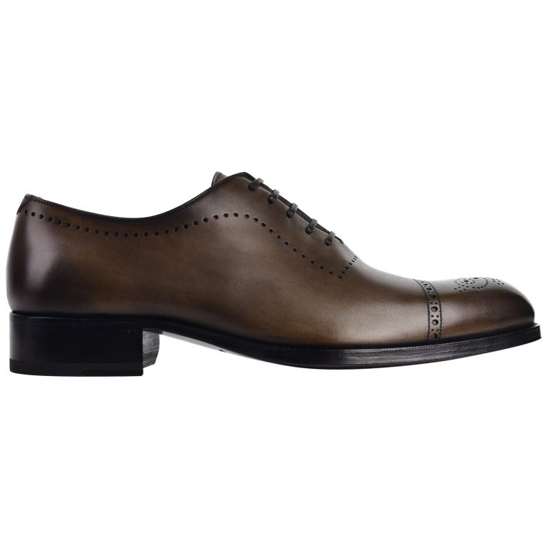 0e7b16c5cd98 Tom Ford Mens Brown Leather Edgar Brogue Lace Up Oxfords