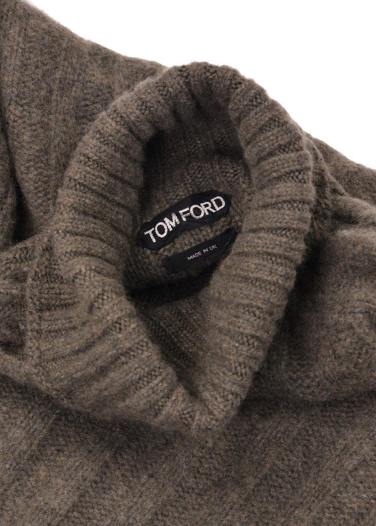 Tom Ford Mens Cashmere Brown Knit Turtleneck Sweater Size It48us38