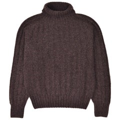 Tom Ford Mens Cashmere Brown Rib Knit Turtleneck Sweater Size IT46/US36~RTL$1450