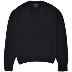 Tom Ford Mens Cashmere Wool Black V Neck Knit Sweater Size IT46/US36~RTL$1790