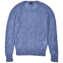 Tom Ford Mens Mohair Silk Blue Crewneck Cable Knit Sweater Sz IT46/US36~RTL$1350