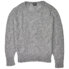 Tom Ford Mens Mohair Silk Grey Crewneck Cable Knit Sweater Sz IT46/US36~RTL$1350
