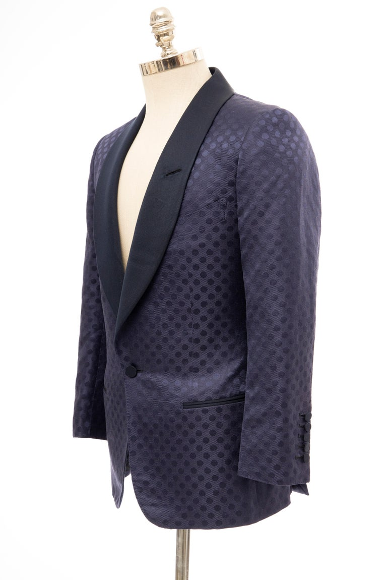 Tom Ford Men's Runway Navy Blue Silk Linen Dinner Jacket, Spring 2012 For Sale 7