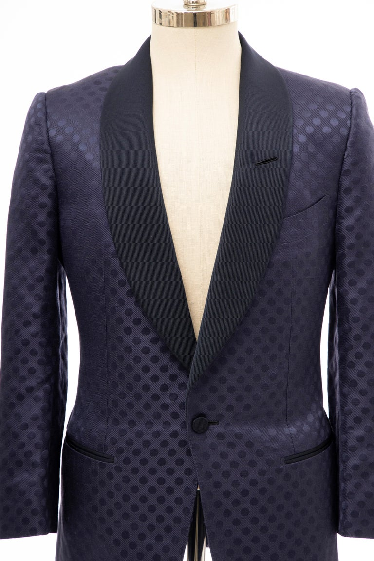 Tom Ford Men's Runway Navy Blue Silk Linen Dinner Jacket, Spring 2012 For Sale 8