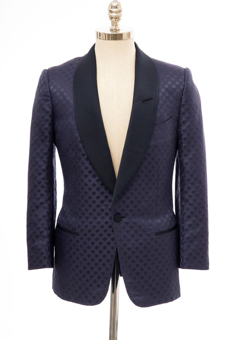 Black Tom Ford Men's Runway Navy Blue Silk Linen Dinner Jacket, Spring 2012 For Sale