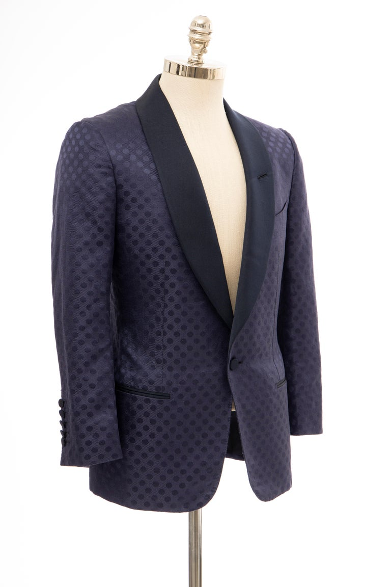 Tom Ford Men's Runway Navy Blue Silk Linen Dinner Jacket, Spring 2012 For Sale 1