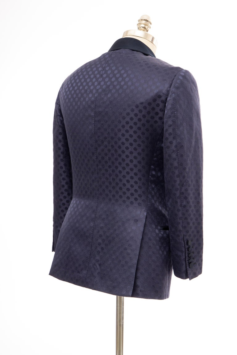 Tom Ford Men's Runway Navy Blue Silk Linen Dinner Jacket, Spring 2012 For Sale 3