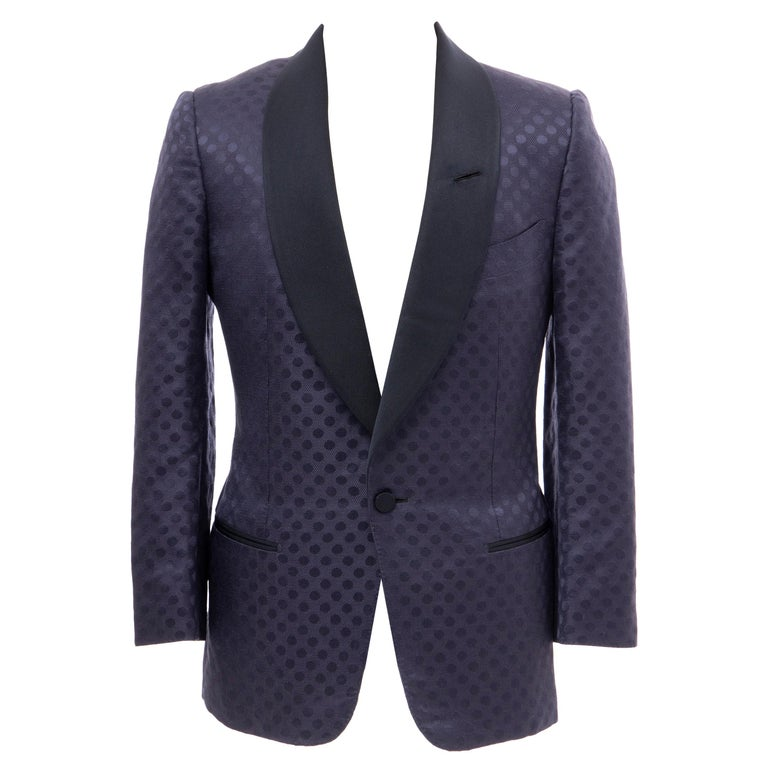 Tom Ford Men's Runway Navy Blue Silk Linen Dinner Jacket, Spring 2012 For Sale
