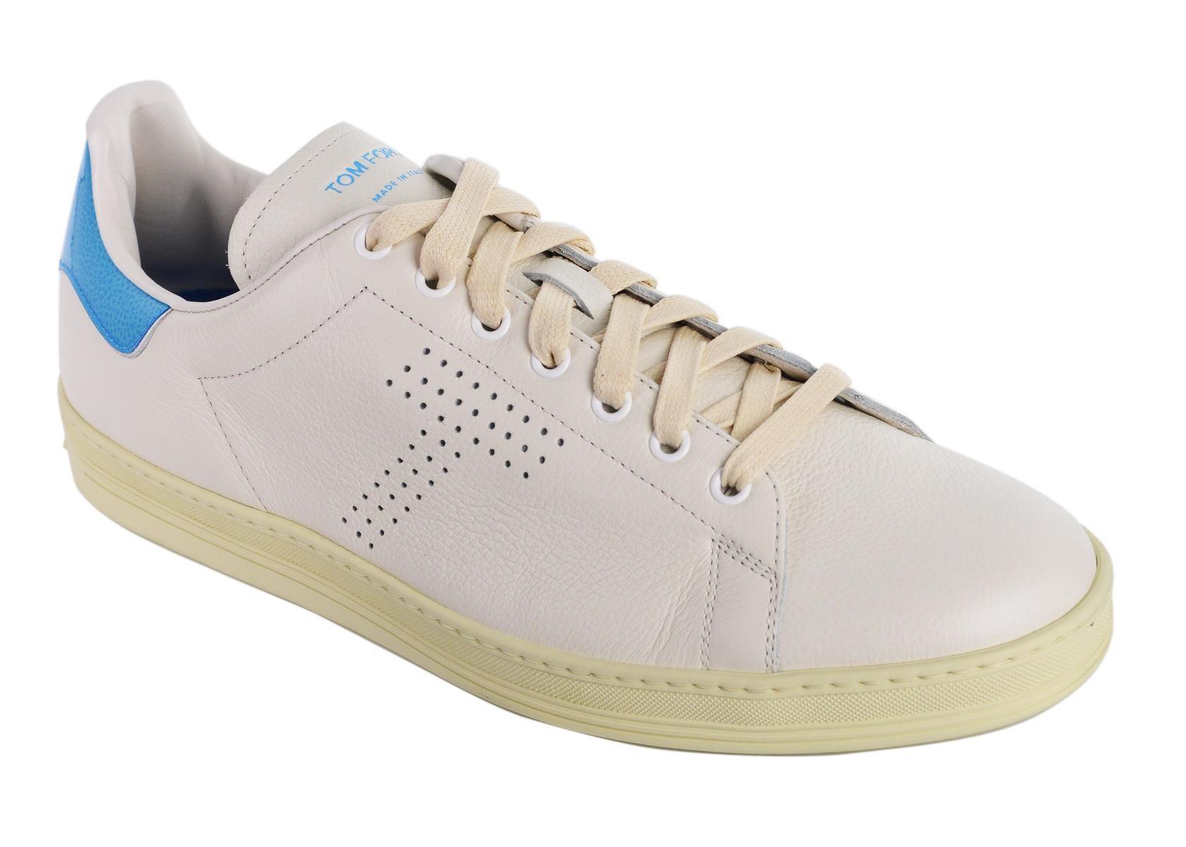 Top Tom Ford Mens White Sneakers Blue Leather Warwick Low w8PkXnON0Z