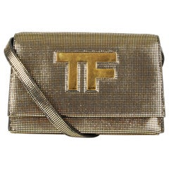 TOM FORD metallic gold leather TF Flap Crossbody Bag Clutch