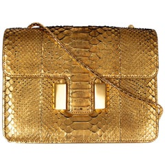 TOM FORD metallic gold SIENNA MEDIUM PYTHON Shoulder Bag