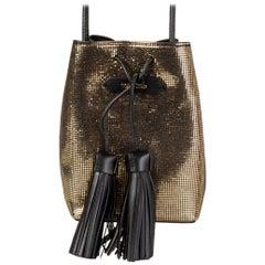 TOM FORD metallic gold textured leather TASSEL BUCKET Shoulder Bag